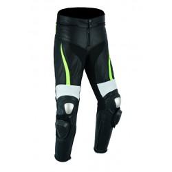 Pantalones de cuero para moto (unisex) marca lovo color negro blanco fluor referencia: lvx76P-racer