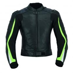 CHAQUETA DE CUERO FLUOR PARA MOTO (UNISEX) LVX96C-RACER MARCA LOVO color: negro FLUOR uso invierno / verano