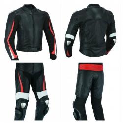 TRAJE COMPUESTO POR CHAQUETA DE CUERO (UNISEX) LVX97C-RACER + Pantalones de cuero para moto (unisex): lvx77P-racer