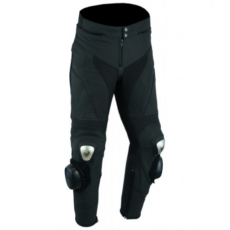 Pantalones de cuero para moto  (unisex) color: negro mate