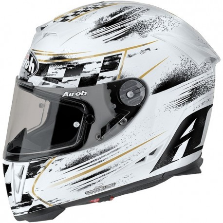 Casco integral  AIROH GP5CH38 GP500 CHECK BLANCO BRILLO